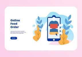 Vetor de página de aterragem de ordem de comida on-line
