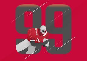 Ilustração em vetor de personagem de futebol americano de pose heróica