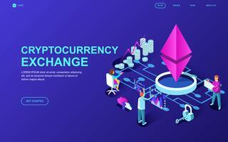 Banner da web de troca de criptomoeda vetor