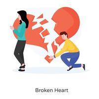 coração partido e separação vetor