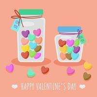 Coração de doces dos namorados no vetor de jar