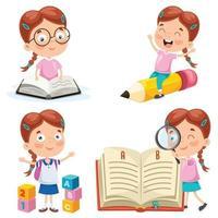 pequeno aluno estudando e lendo vetor