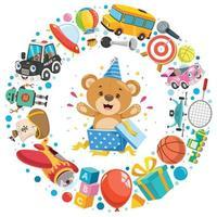 vários brinquedos engraçados para crianças vetor