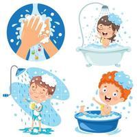 coleção de ilustrações para cuidados pessoais infantis vetor