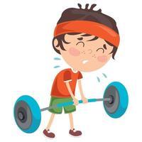 garotinho fazendo exercício de levantamento de peso vetor