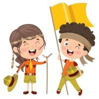 garotinhos escoteiros felizes sorrindo vetor