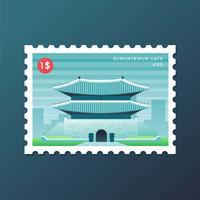 Selo postal da porta de Sungnyemun em Seul vetor
