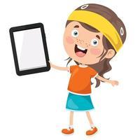 criança feliz usando tecnologia vetor