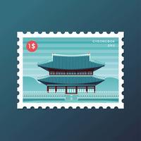 Selo postal do Palácio Gyeongbok em Seul vetor
