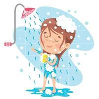 criança engraçada tomando banho vetor