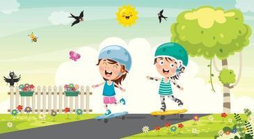 criança feliz andando de skate lá fora vetor