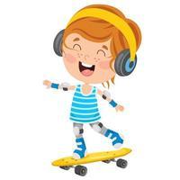 crianças felizes andando de skate lá fora vetor