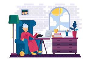vovó trabalhando no dispositivo portátil em vetor de casa. avó sentada na poltrona, acariciando o animal doméstico do gato e assistindo a um vídeo ou conversando com a família no computador portátil ilustração plana dos desenhos animados