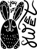 ilustração desenhada à mão de coelhinha fofa vetor