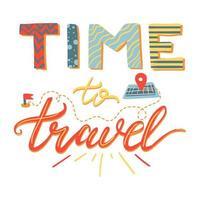hora de viajar letras de vetor desenhadas à mão