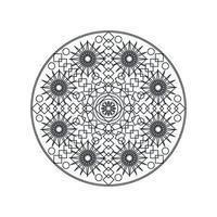ilustração vetorial de linha fina de mandala geométrica monocromática vetor