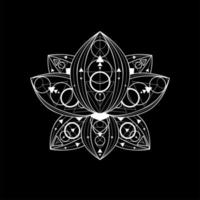 flor de lótus com ilustração linear vetorial de ornamento geométrico vetor