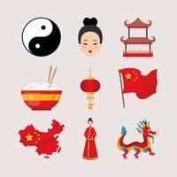 ícones da cultura chinesa vetor
