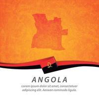 bandeira de angola com mapa vetor