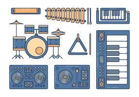 Instrumentos Musicais Knolling Set vetor