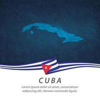 bandeira de cuba com mapa vetor