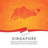 bandeira de singapura com mapa vetor