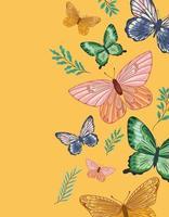 pacote de borboletas fofas vetor