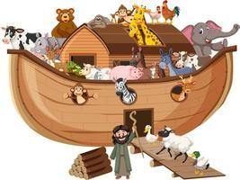animais na arca de noé isolados no fundo branco vetor