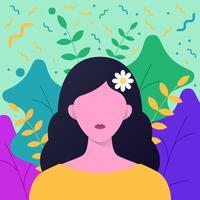 Menina com flores no cabelo comprido com fundo Floral Element vetor