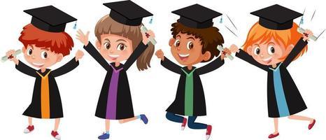 conjunto de diferentes crianças vestindo fantasias de formatura vetor