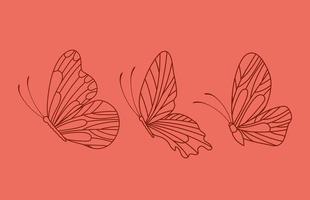 três lindas borboletas vetor