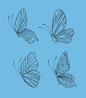 quatro lindas borboletas vetor