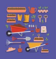 ícones de ferramentas de jardim vetor