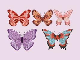 seis borboletas fofas vetor