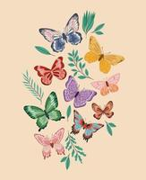 plantas e borboletas vetor