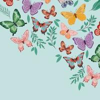borboletas e plantas vetor