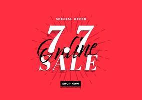 7.7 modelo de banner de super venda on-line sobre fundo vermelho. vetor
