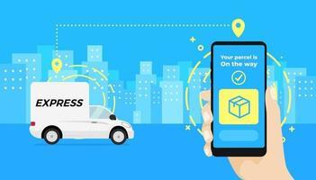 aplicativo de serviço de entrega rápida no smartphone. mão segurando um smartphone e verificando o status do carro de entrega de encomendas. vetor
