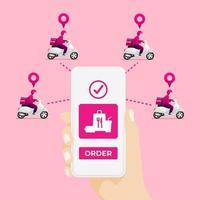 serviço de entrega de comida em scooter com correio. aplicativo de serviço de entrega no celular. vetor