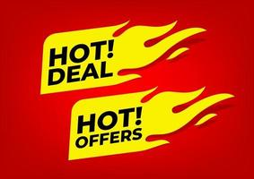 hot deal e hot oferece rótulos de fogo. vetor