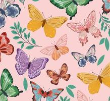 borboletas com folhas vetor