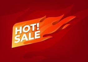 etiqueta flamejante de venda quente. banner de promoção de venda. vetor