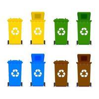 lixeiras com símbolo de reciclagem. vetor
