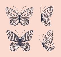 quatro borboletas fofas vetor