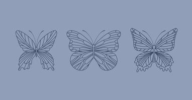 três borboletas fofas vetor