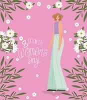 8 de março letras do dia das mulheres e mulher bonita com chapéu e blusa roxa vetor