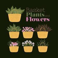 conjunto de cestos, plantas e flores vetor