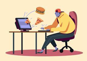 Pedido de comida on-line vetor