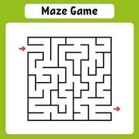 labirinto quadrado. jogo para crianças. quebra-cabeça para crianças. enigma do labirinto. ilustração vetorial. encontre o caminho certo. vetor