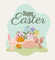 letras de feliz páscoa com uma coelhinha rosa fofa, raposa, urso e uma cesta cheia de flores vetor